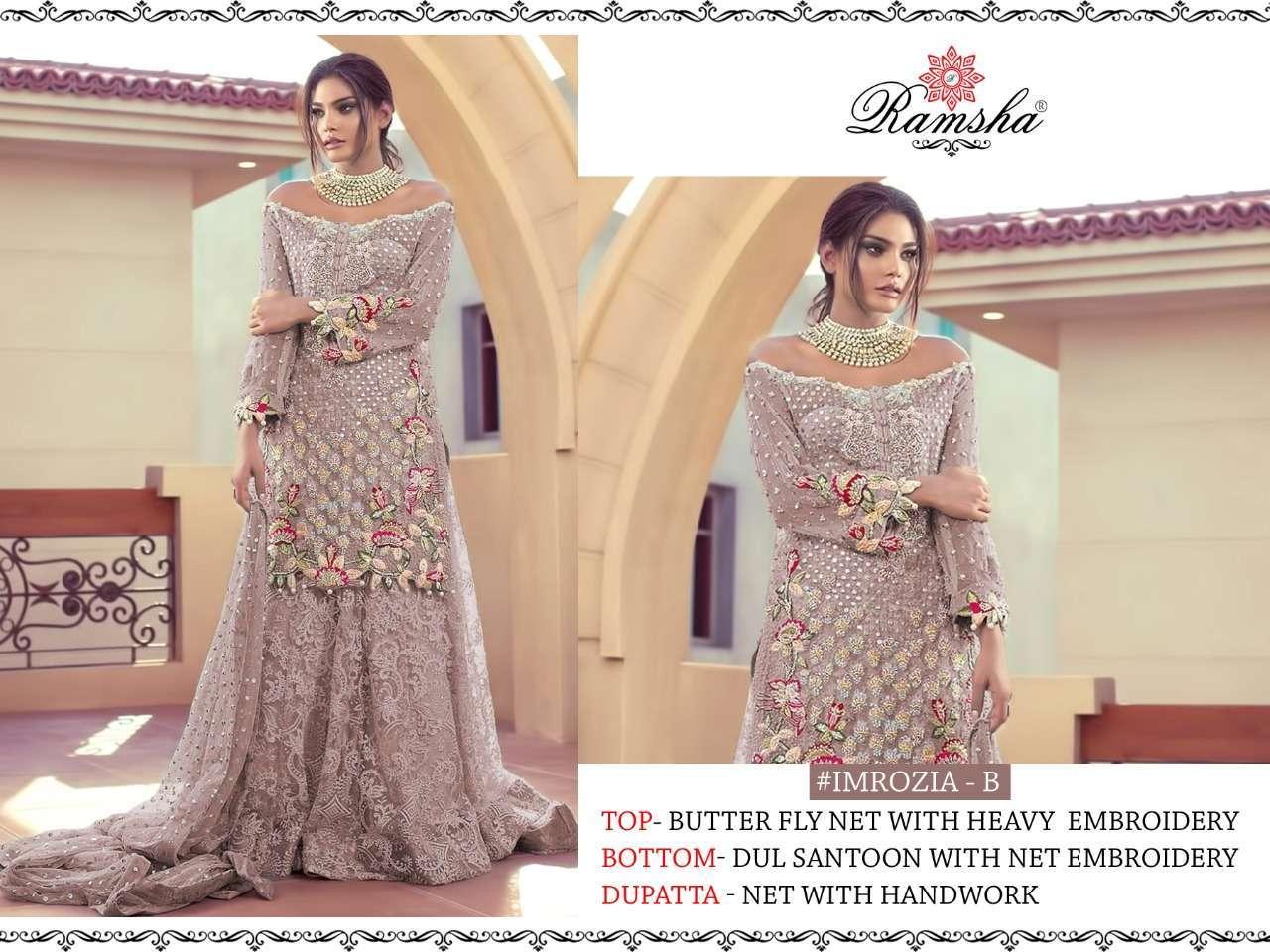 Ramsha Imrozia Nx with embroidery wotk pakisatni suit collection