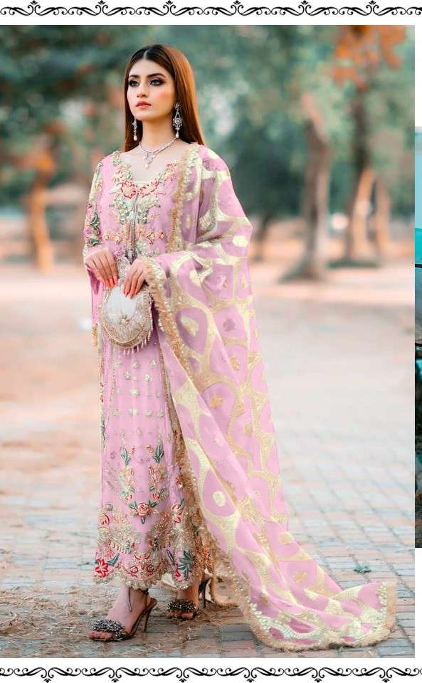 Ramsha R 276 NX Faux Georgette With Heavy Embroidery work Pakistani Suits Collection