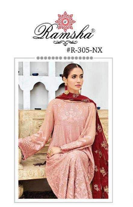 Ramsha R 305 NX Georgette With heavy Embroidery Work Pakistani Suits Collection