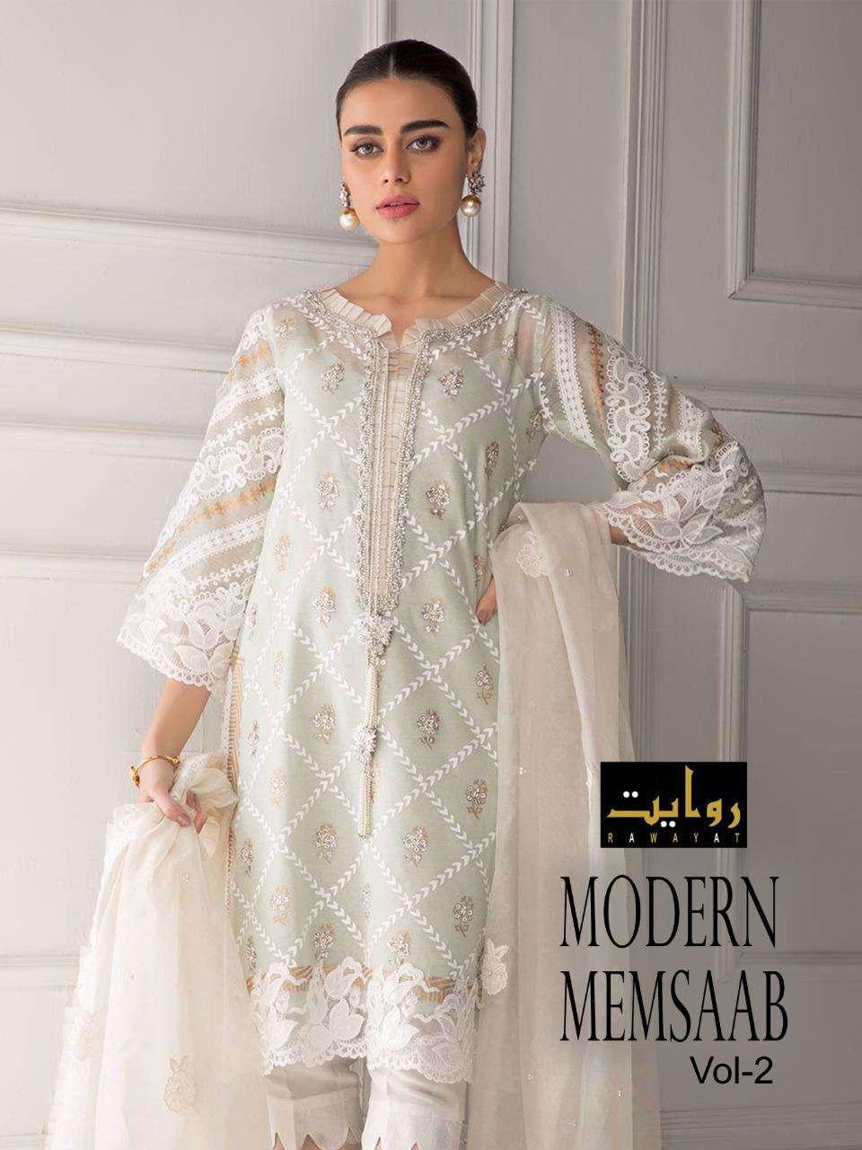 Rawayat fashion Modern Memsaab Vol 2 Jam Cotton With Embroidery Work Pakistani Suits Collection