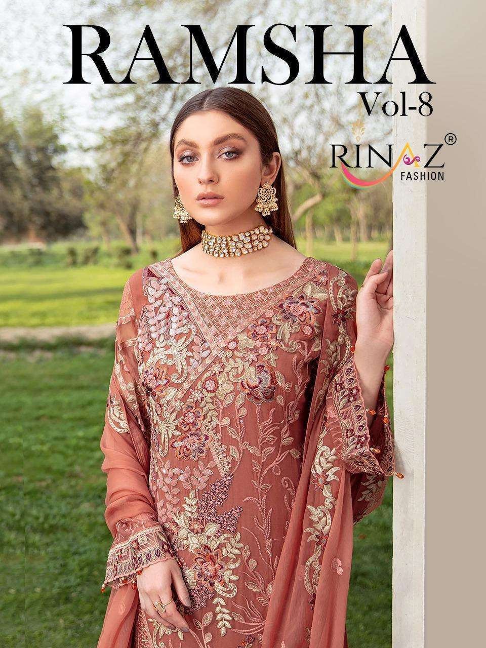 Rinaz Fashion Ramsha vol 8 Faux Georgette With Embroidery Work Pakistani Suits collection