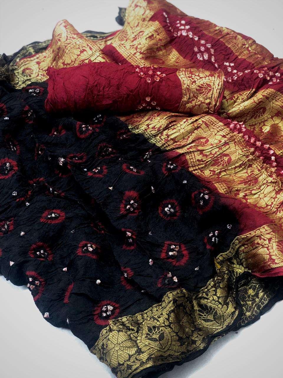 Ruvani Silk Viscose Bandheni Print Sarees Collection 07