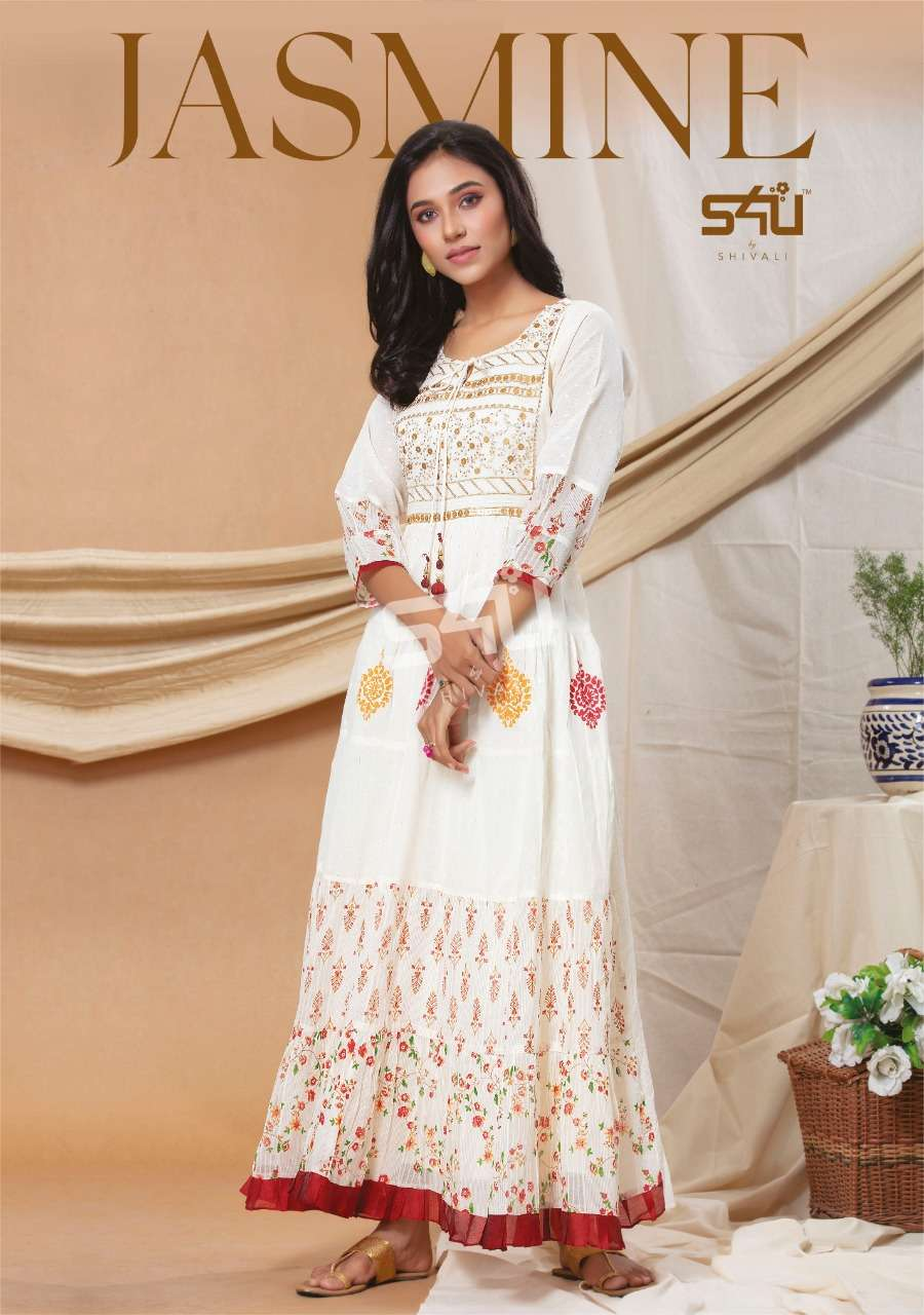 S4U Jasmine cotton Rayon With Embroidery Work Long Gown Style Designer Kurtis Collection