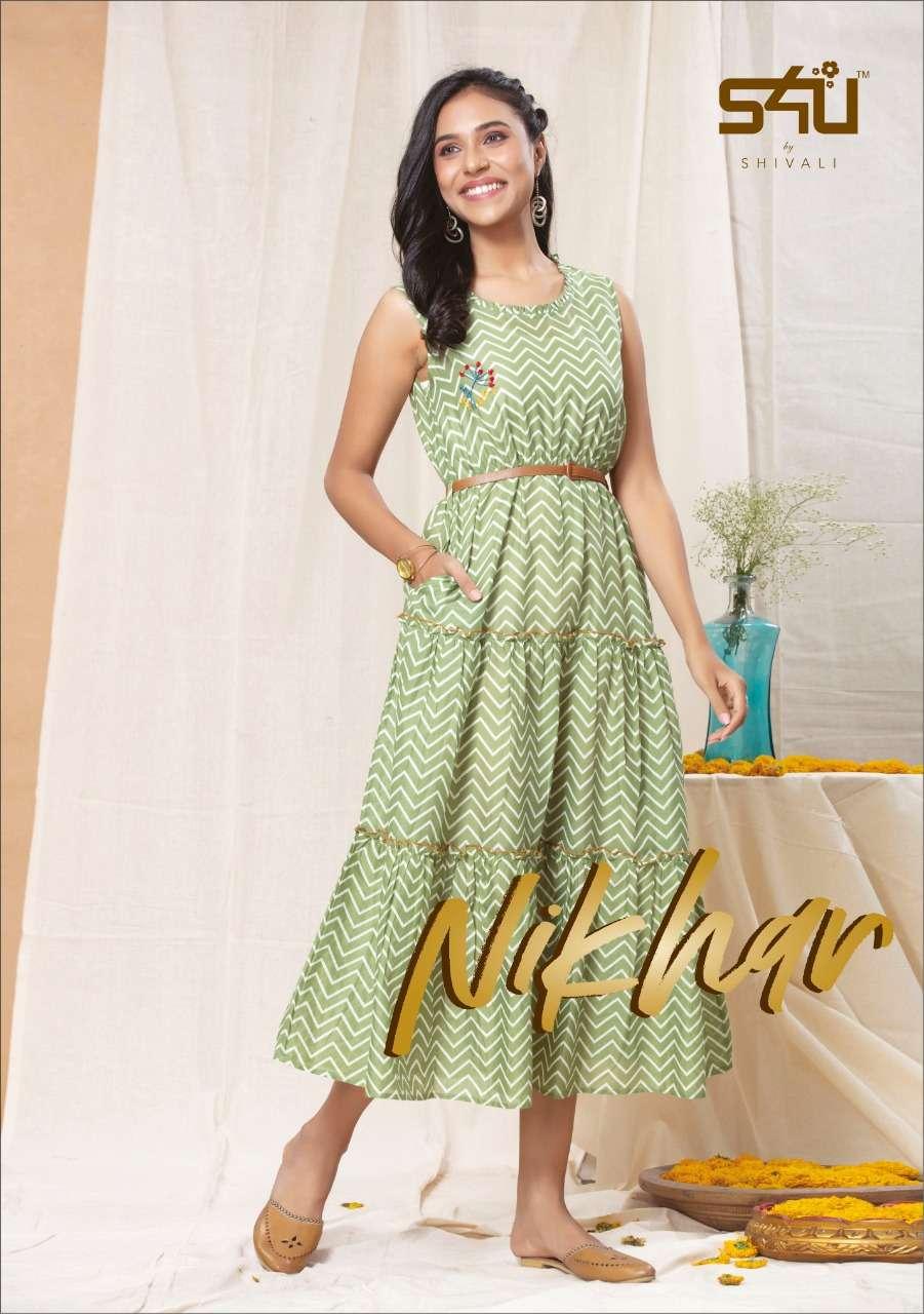S4u Nikhar Cotton rayon With Work Western Tunic Style Kurtis Collection