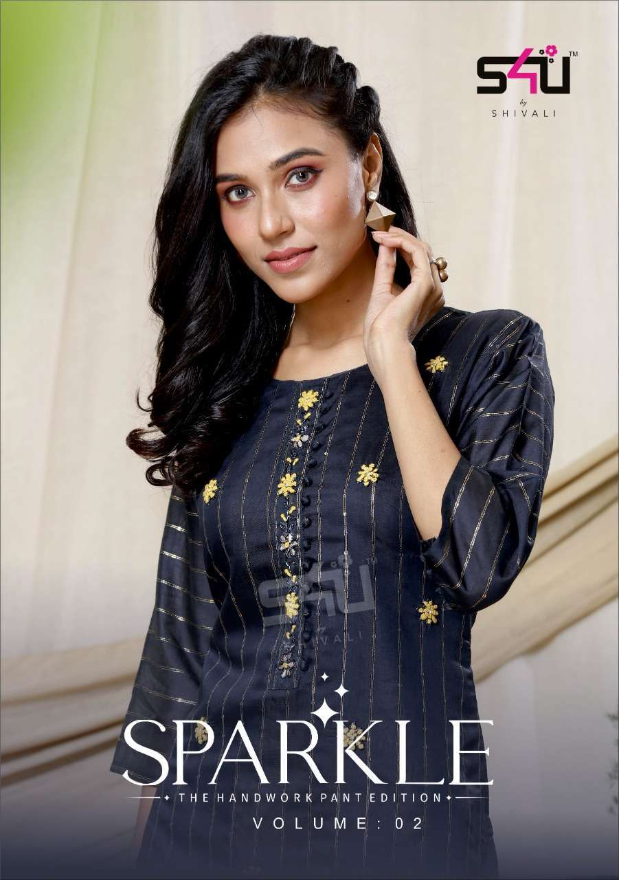 S4U Sparkle Vol 2 Lurex Fabric With Hand work Kurti With Pant Collection