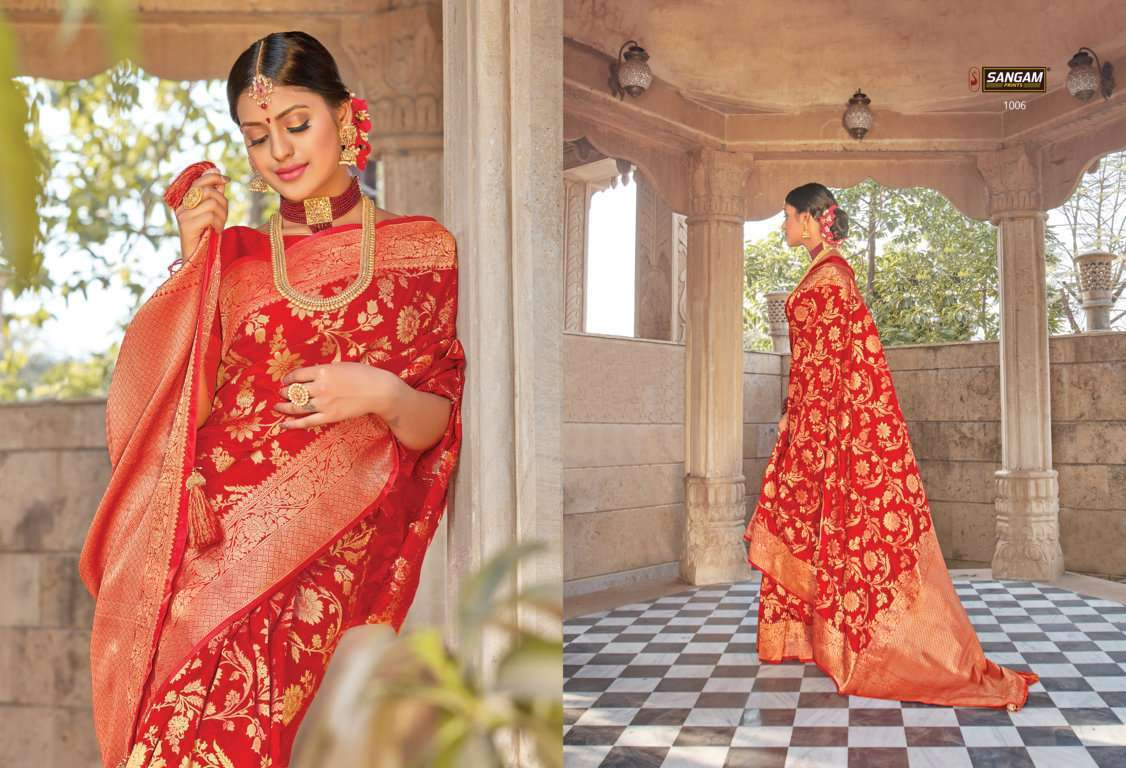 Sangam Prints Red Rose Vol 2 pure silk traditional saree collection 01