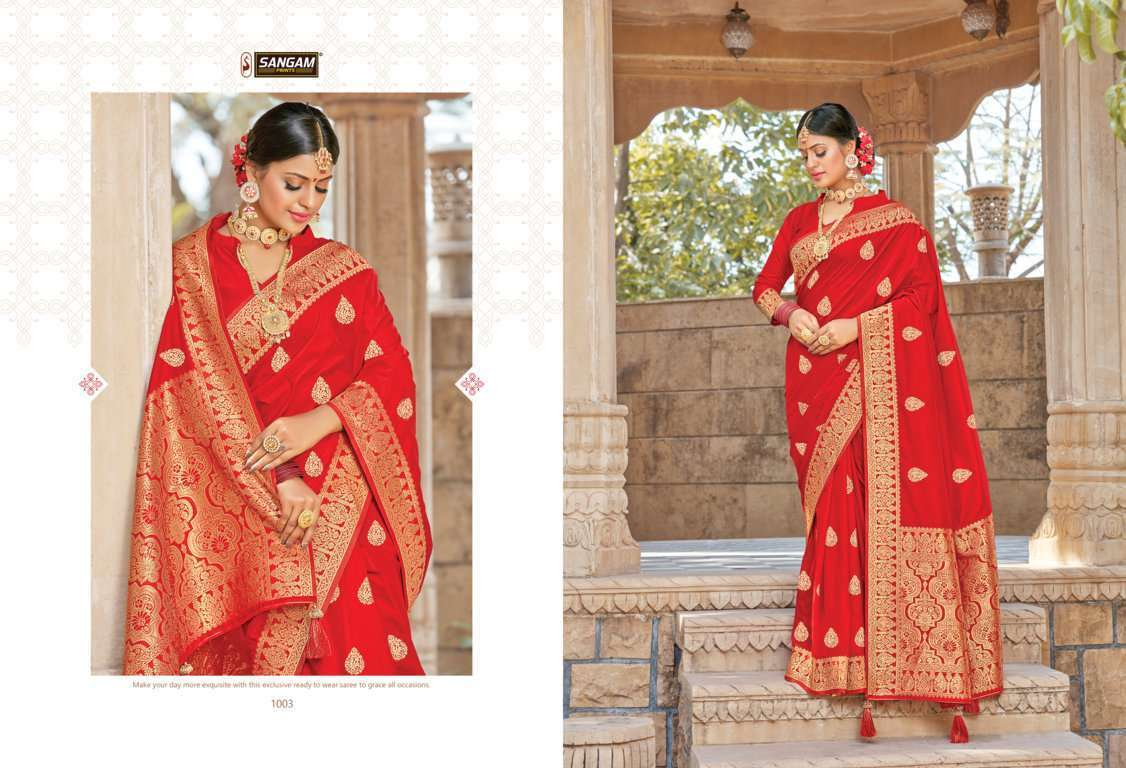 Sangam Prints Red Rose Vol 2 pure silk traditional saree collection 04