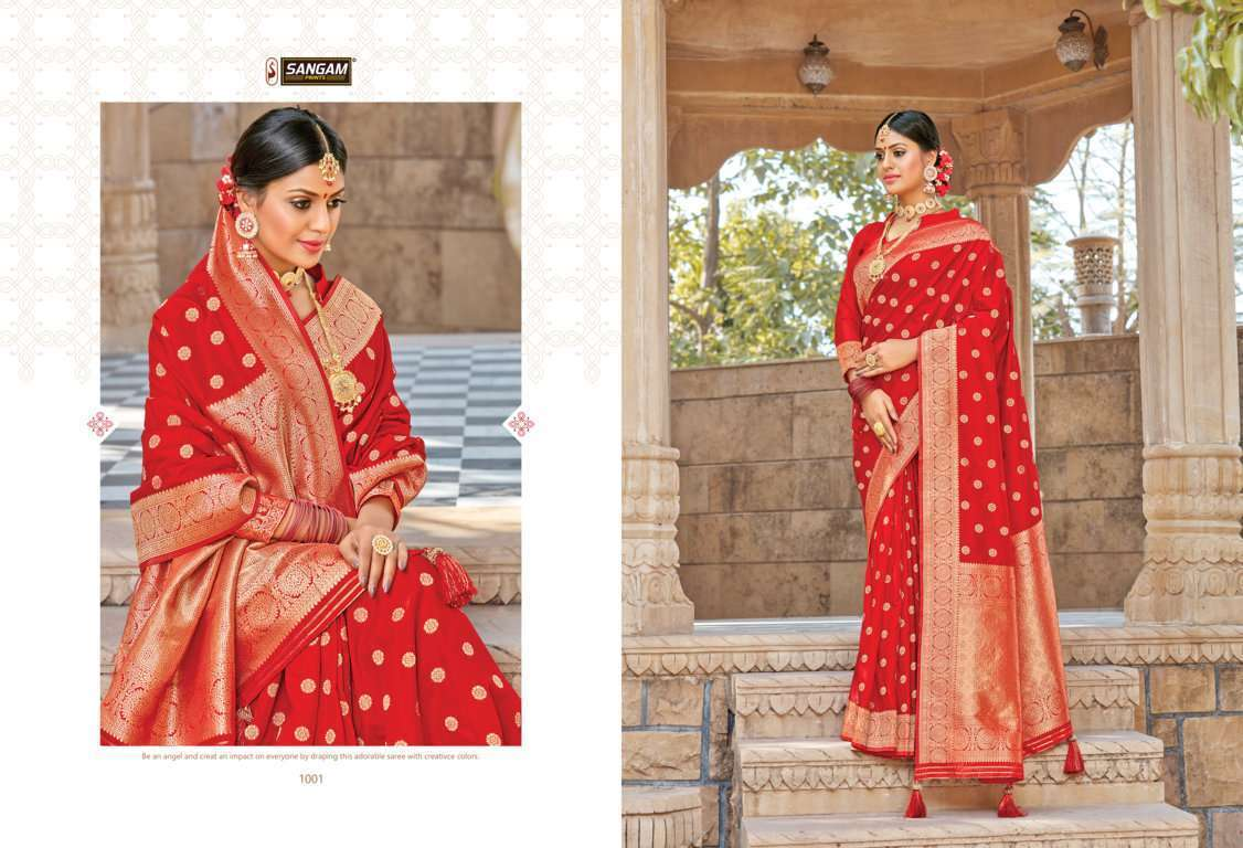 Sangam Prints Red Rose Vol 2 pure silk traditional saree collection 06