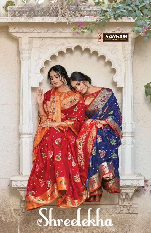 Sangam Prints Shreelekha silk traditional sarees Collection