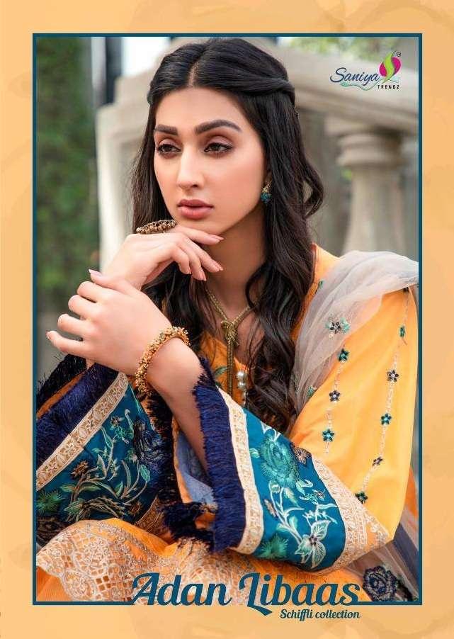 Saniya Trendz Adan Libaas Schiffli Collection Cambric chicken Kari Heavy Embroidery Work Pakistani Suits Collection