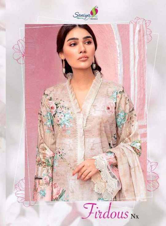 Saniya Trendz Firdous NX Cotton printed Embroidery Patch Embroidery Work Pakistani Suits collection