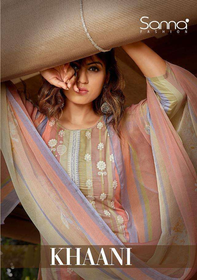 Sanna Fashion Khaani Cotton lawn Digital print With Fancy work Dress Material Collection