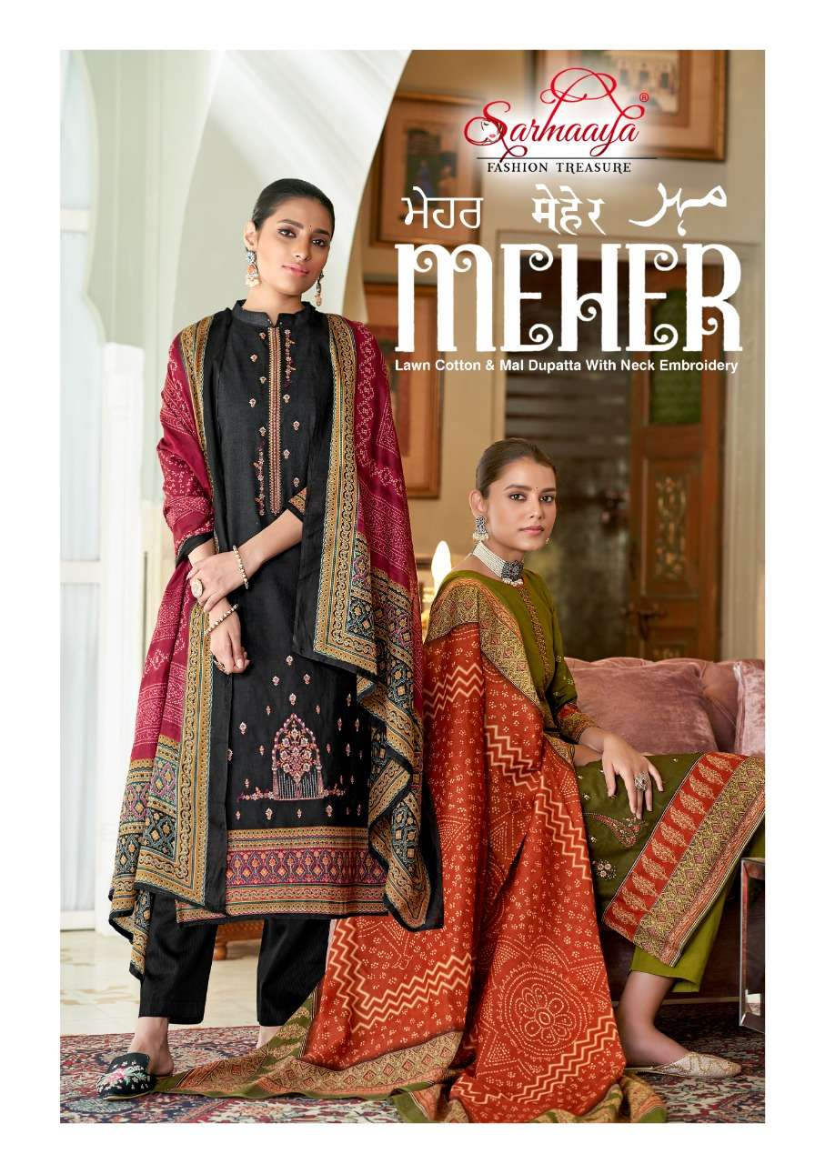 SARMAAYA TEX FAB MEHER PURE LAWN COTTON WITH EMBROIDERY WORK DRESS MATERIAL COLLECTION
