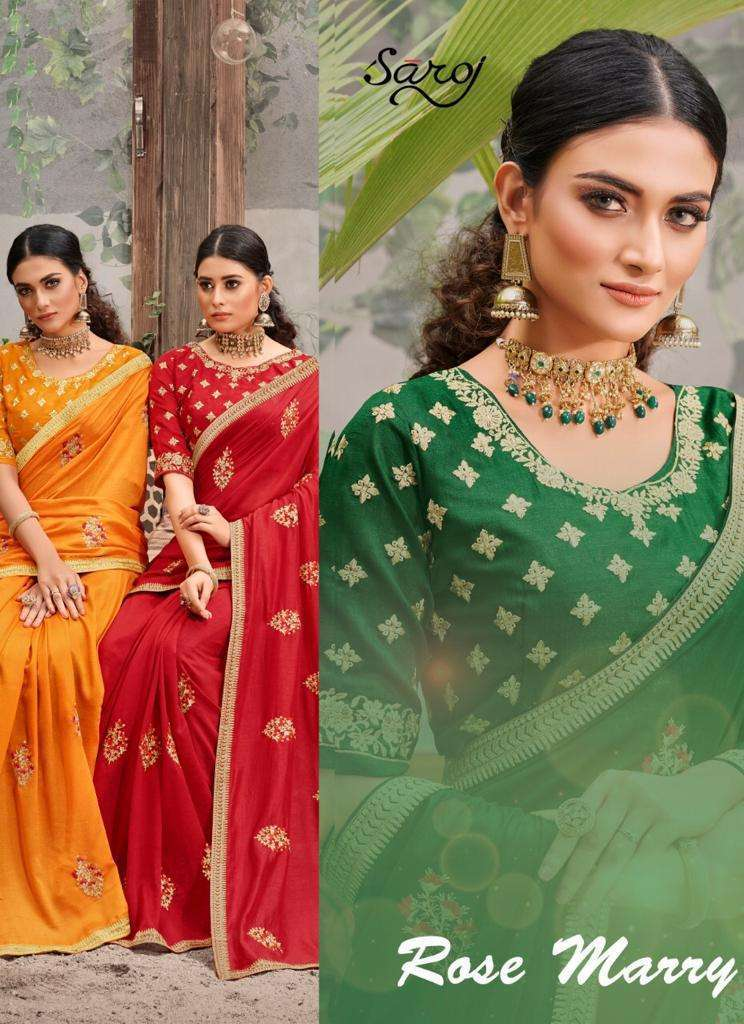 Saroj Rose marry Vichitra Silk With Embroidery Work sarees Collection