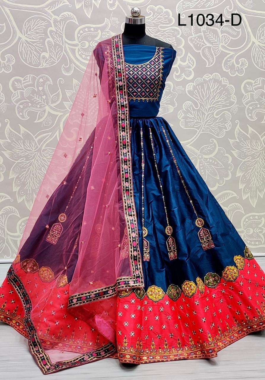 satin silk with multi thread work designer lehenga choli collection 02