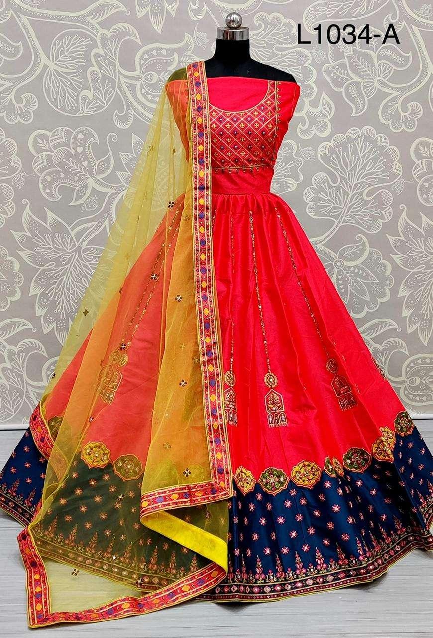 satin silk with multi thread work designer lehenga choli collection 03