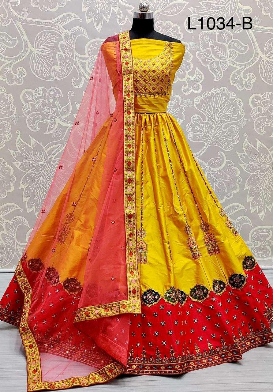 satin silk with multi thread work designer lehenga choli collection 04