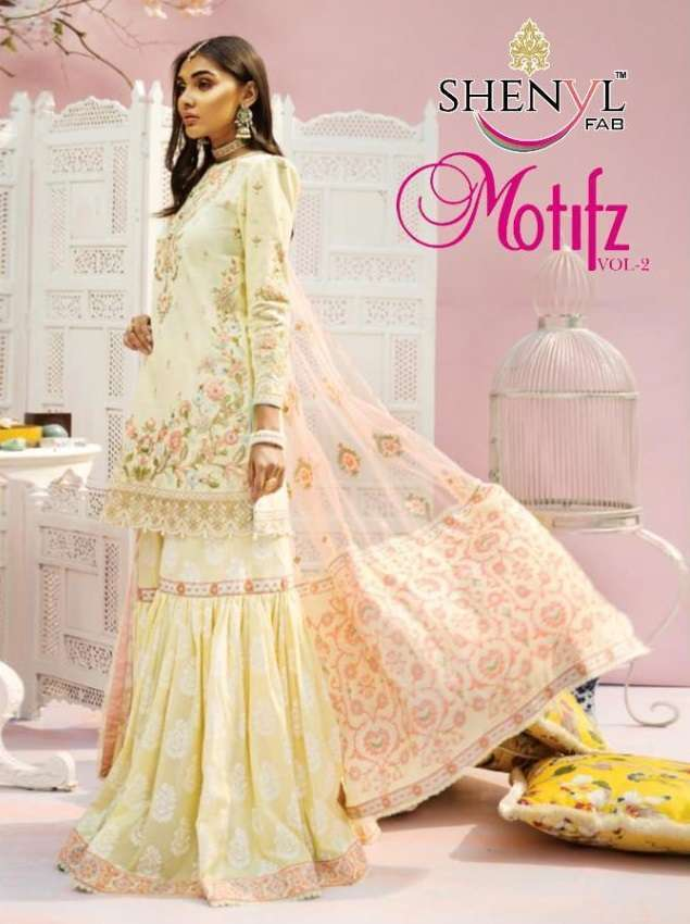 Shenyl Fab Motifz Vol 2 Cambric cotton With Embroidery Work Pakistani Suits Collection