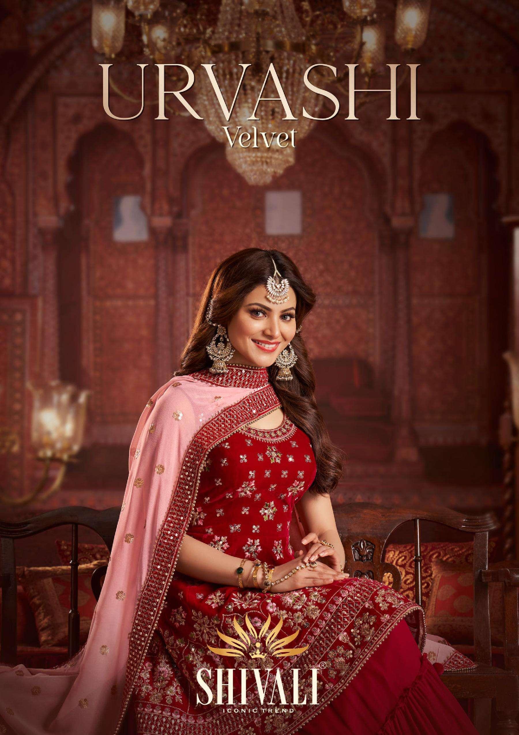Shivali Urvashi Velvet Fancy Designer Indo Western collection At wholesale rate