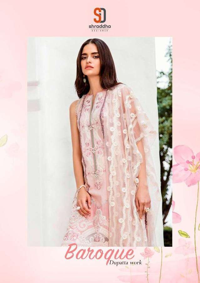 Shraddha Designer Baroque Lawn Cotton print With Embroidery Work Pakistani Suits Collection