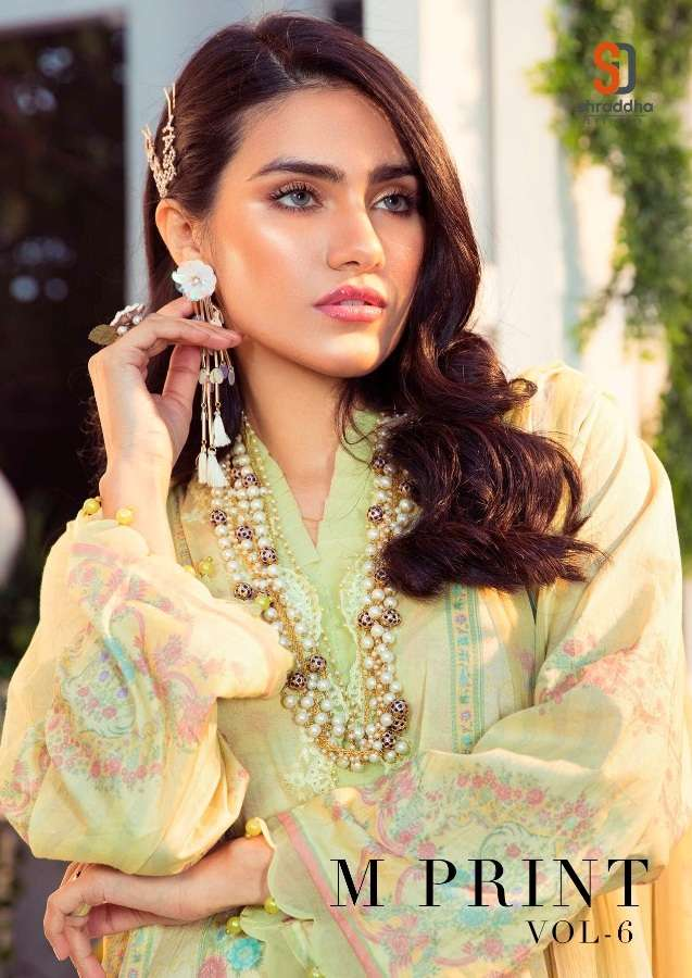 Shraddha Designer M Print Vol 6 Lawn Cotton print With Embroidery Work Pakistani Suits Collection