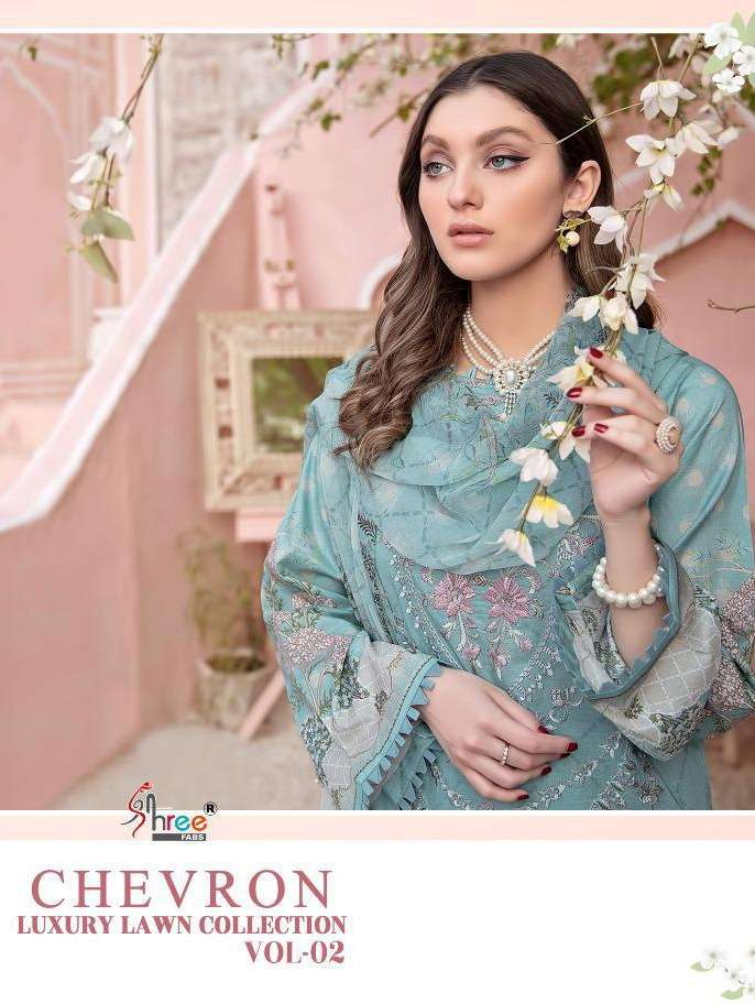 shree Fab Chevron Luxury Lawn Collection vol 2 Pure lawn Print with Embroidery work Pakistani Suits Collection