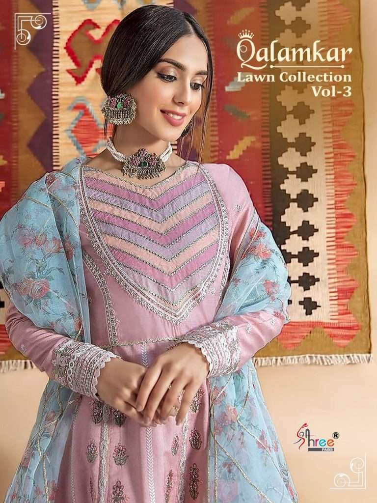Shree Fab Qalamkar lawn Collection vol 3 Pure lawn Cotton With Embroidery Work Pakistani Suits Collection