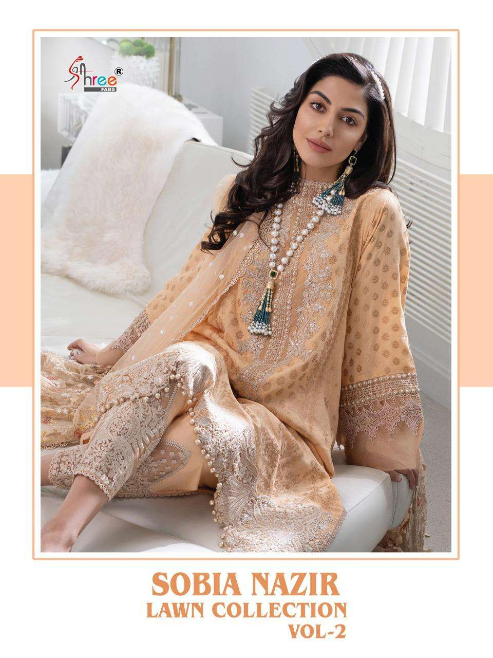 Shree Fab Sobia Nazir lawn Collection Vol 2 Pure lawn With Embroidery Work Pakistani Suits Collection