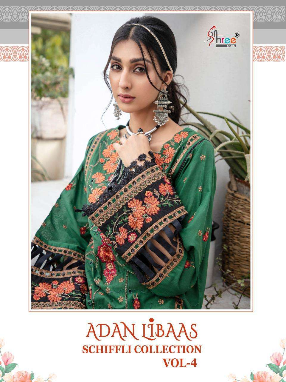 Shree Fabs Adan Libaas Schiffli Collection vol 4 Pure Cotton With Embroidery Work Pakistani Suits Collection
