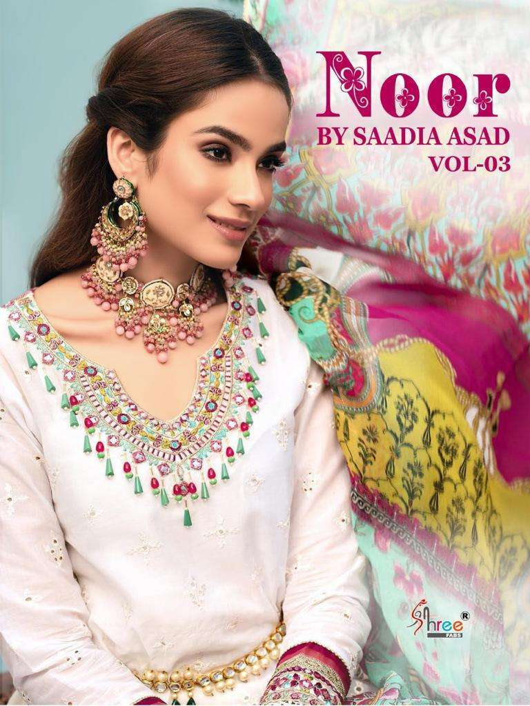 Shree Fabs Noor By Saadia Asad Vol 3 Pure Cotton With Embroidery Work Pakistani Suits collection