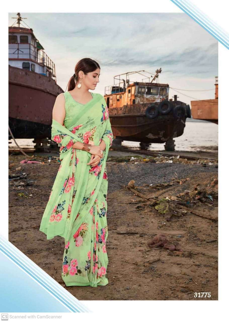 shubhash gardenia  georgette with printed saree collection 02