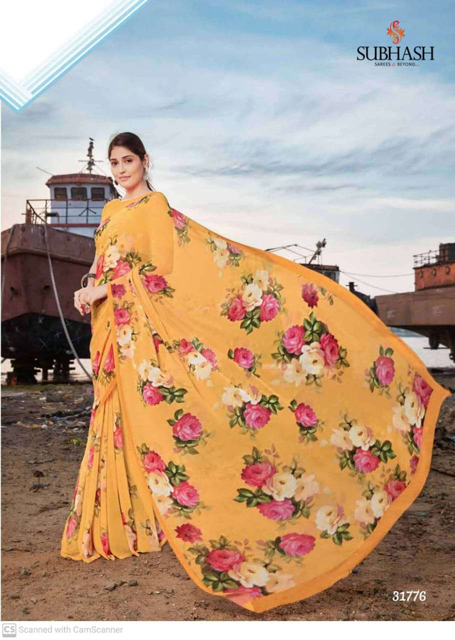 shubhash gardenia  georgette with printed saree collection 03