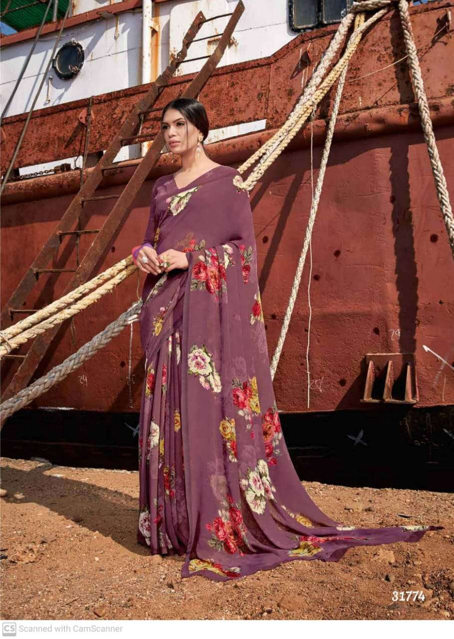 shubhash gardenia  georgette with printed saree collection 04