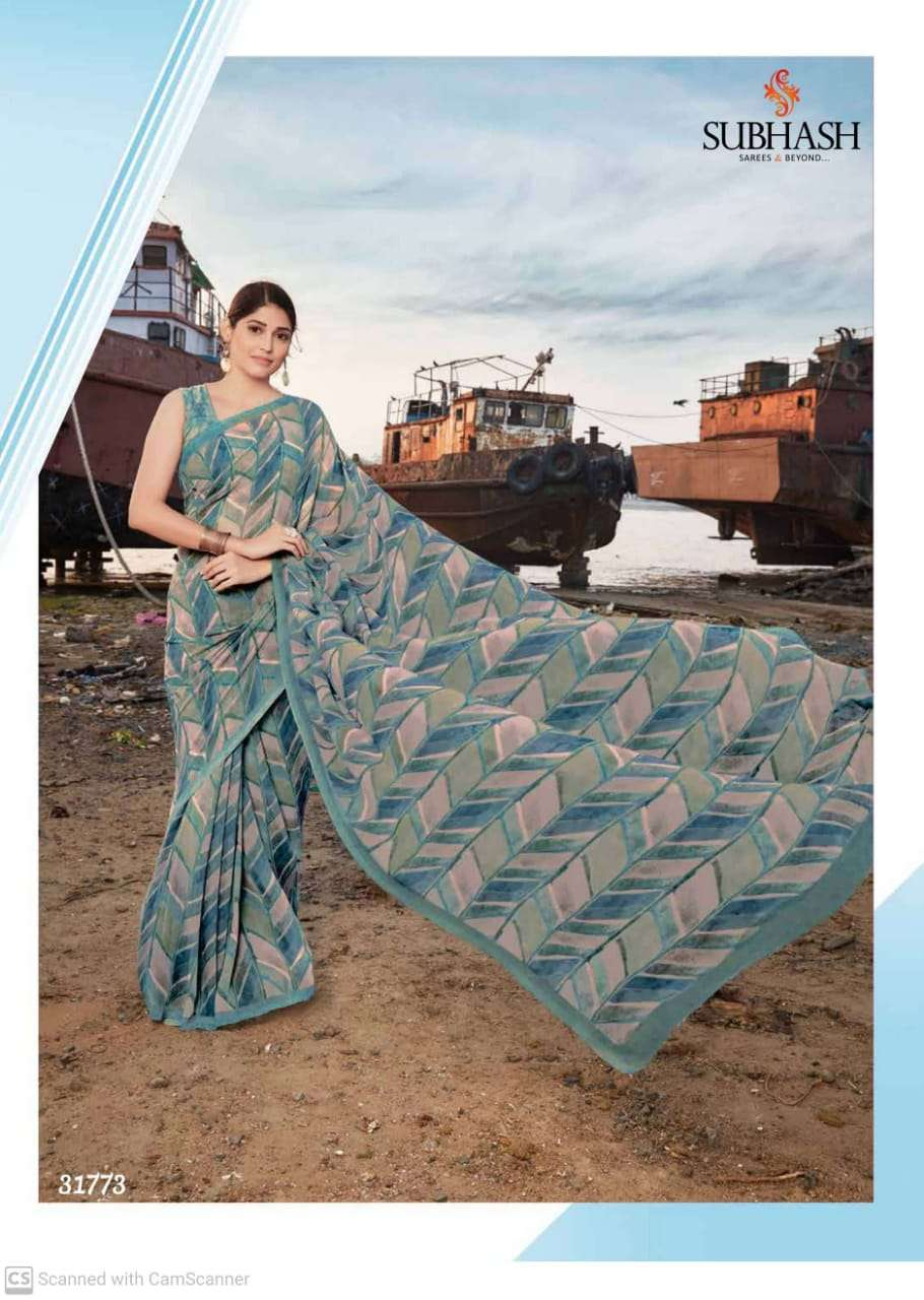 shubhash gardenia  georgette with printed saree collection 05