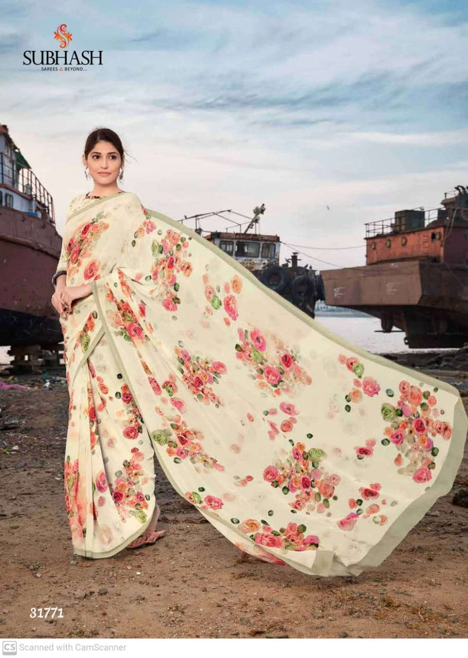 shubhash gardenia  georgette with printed saree collection 06+