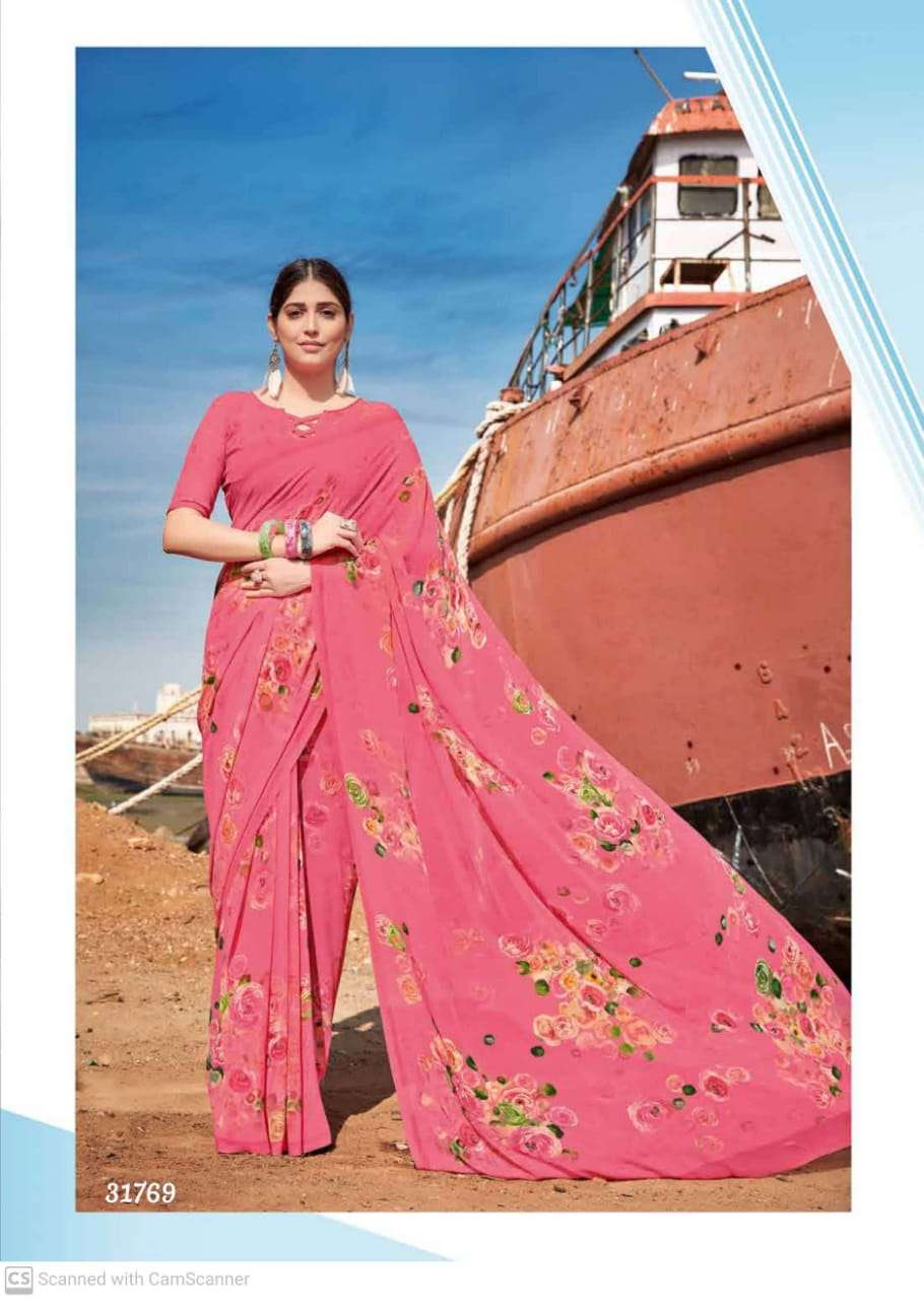 shubhash gardenia  georgette with printed saree collection 07