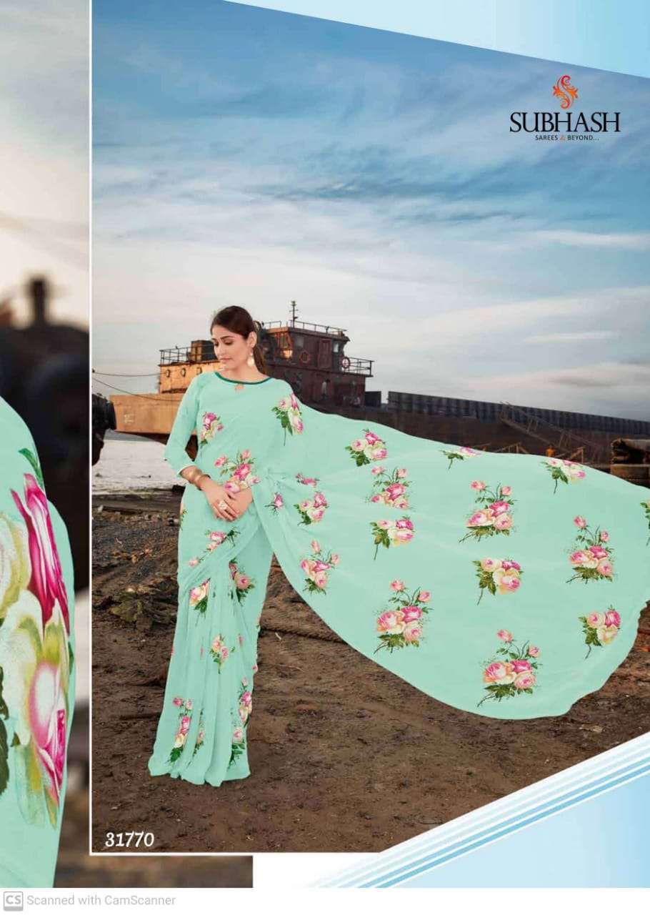 shubhash gardenia  georgette with printed saree collection 08