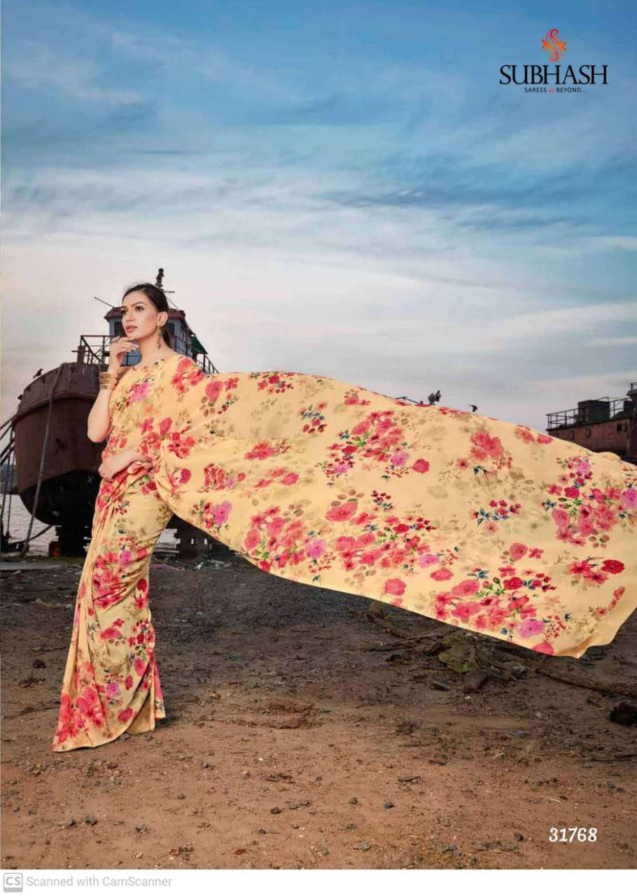 shubhash gardenia  georgette with printed saree collection 09