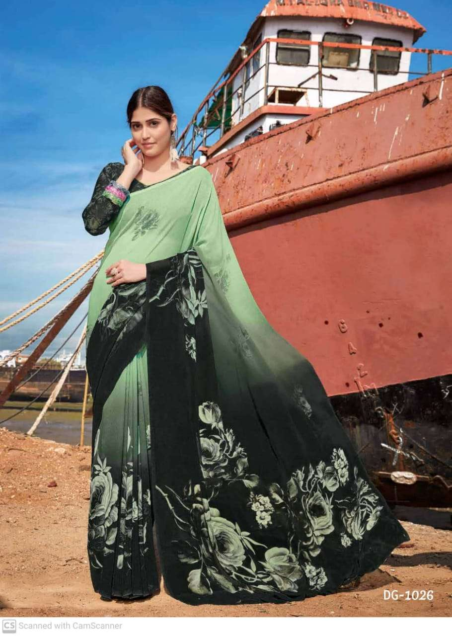 shubhash gardenia  georgette with printed saree collection