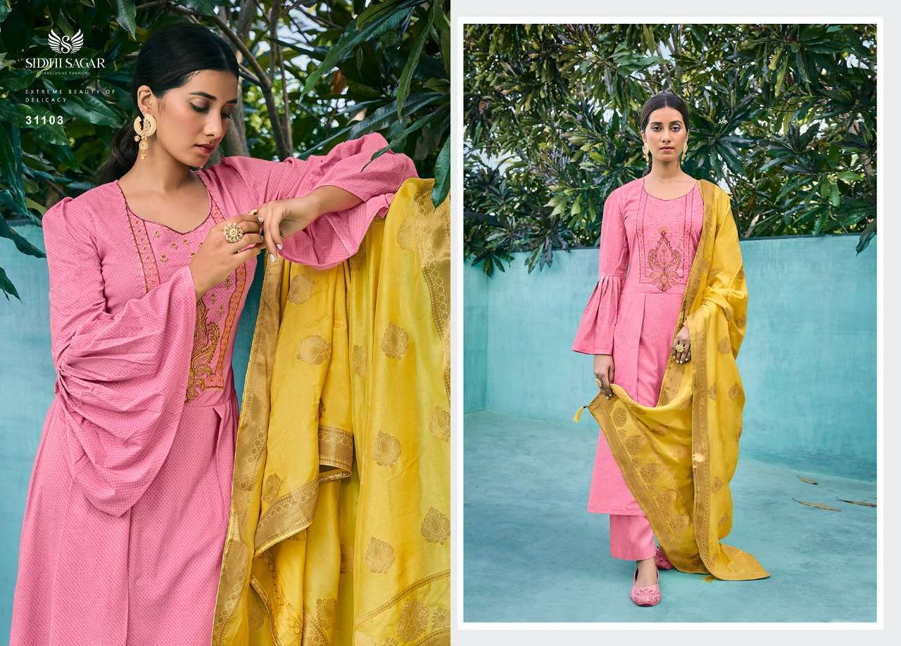 Siddhi Sagar Niramya Pure Cotton With Fancy Embroidery Work Dress Material Collection 03