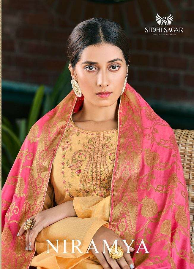 SIDDHI SAGAR NIRAMYA PURE COTTON WITH FANCY EMBROIDERY WORK DRESS MATERIAL COLLECTION