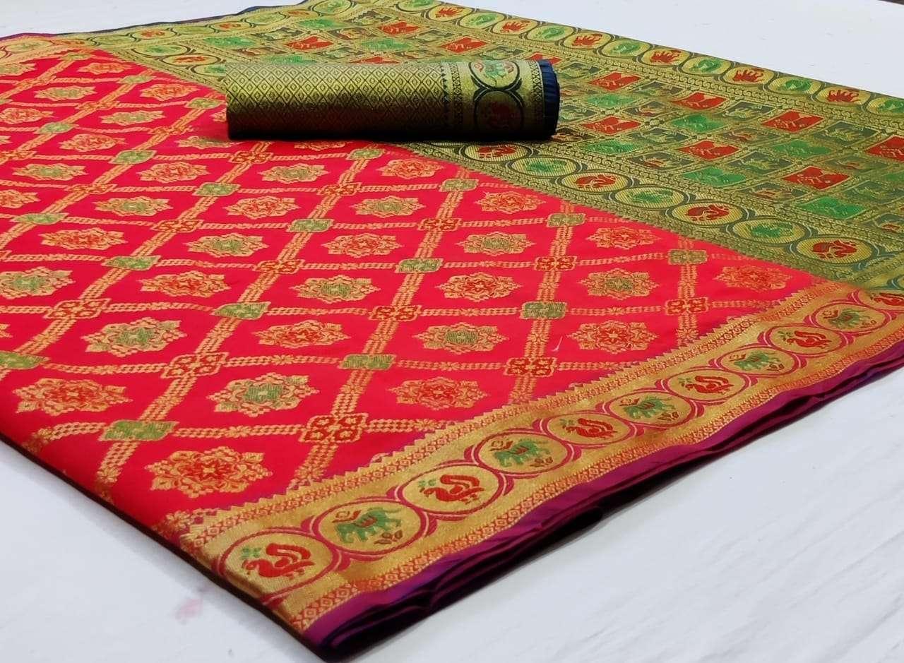 Silk Saree Vol 8 Pure Soft Banarasi Silk Patola Print With Weaving Sarees Collection 03