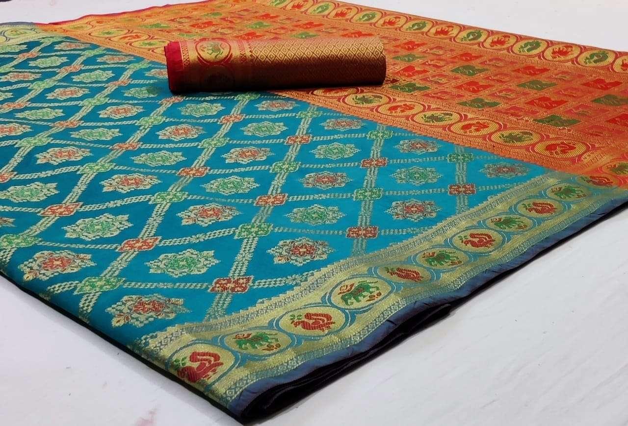 Silk Saree Vol 8 Pure Soft Banarasi Silk Patola Print With Weaving Sarees Collection 05