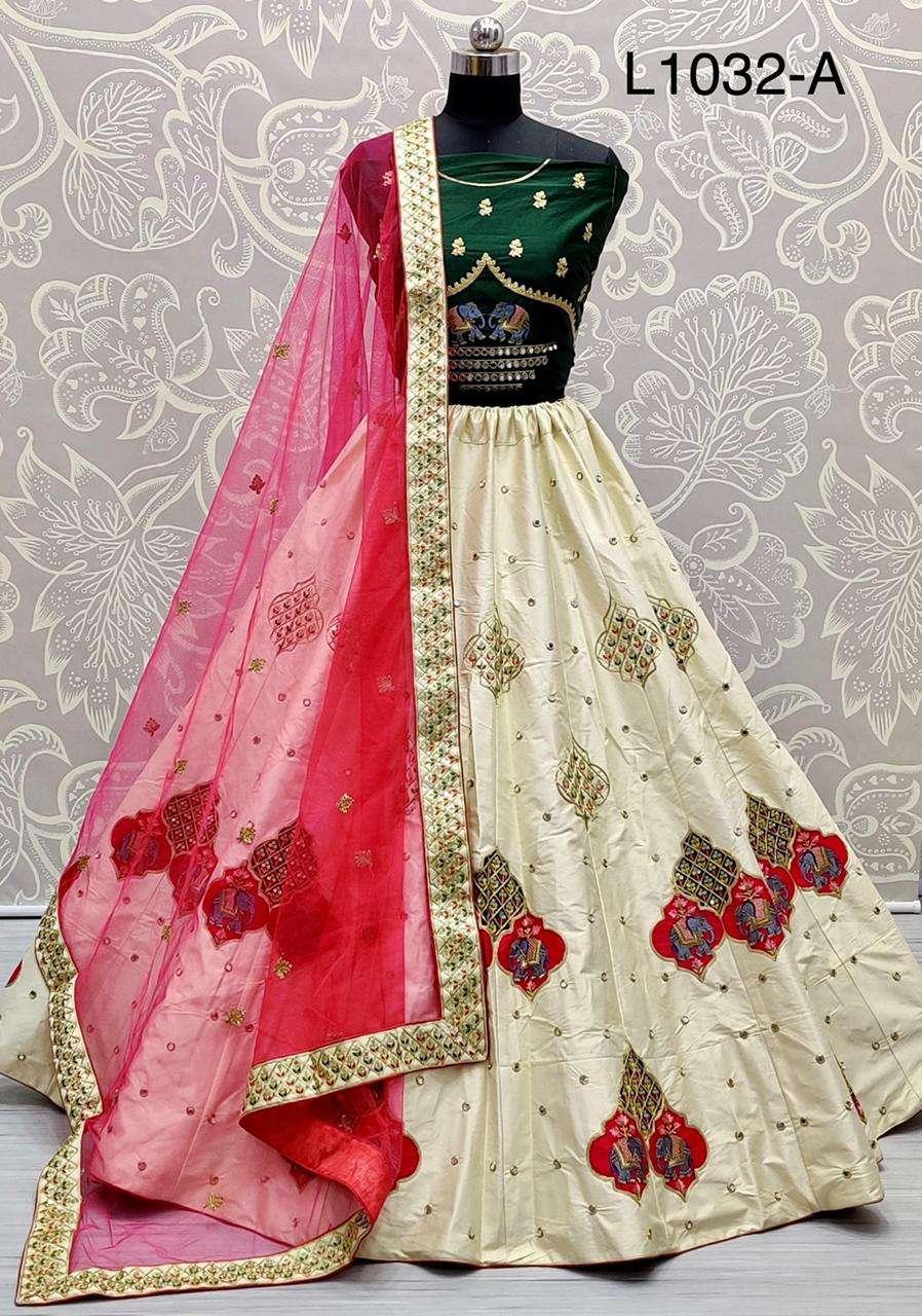 Silk Satin With Zari embroidery Thread work Lehenga Choli Collection