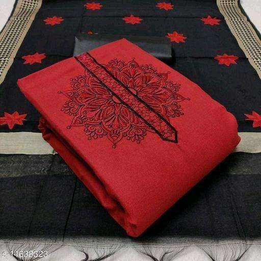 Slub Cotton With embroidery work Dress Material