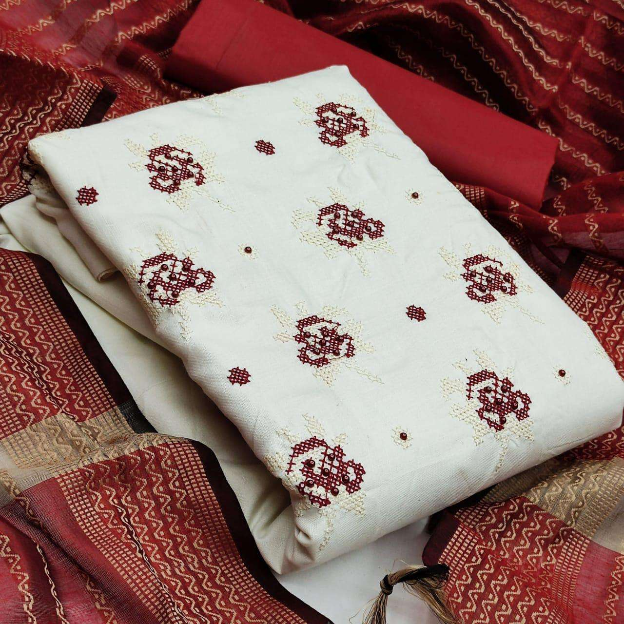Slub Cotton With embroidery work Dress Material Collection