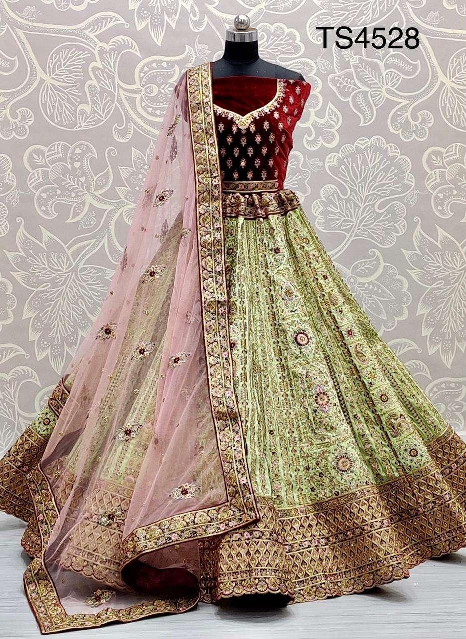 Slub silk and velvet with dori embroidery Multi thread work designer lehenga choli
