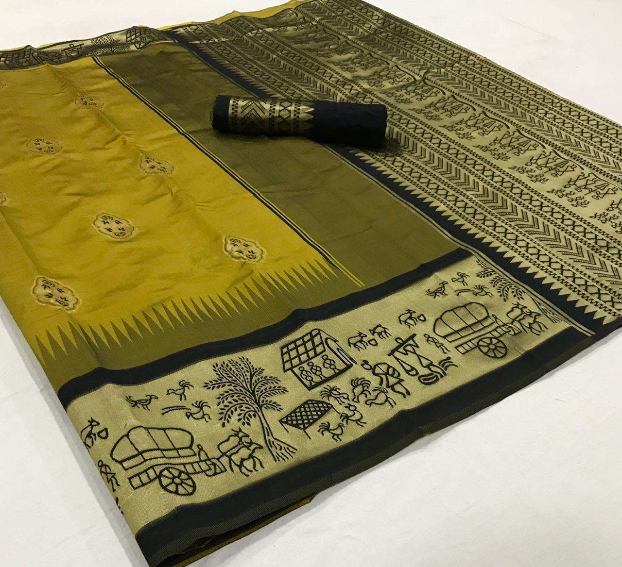soft silk with Weaving Butta With Weaving Border saree collection  01
