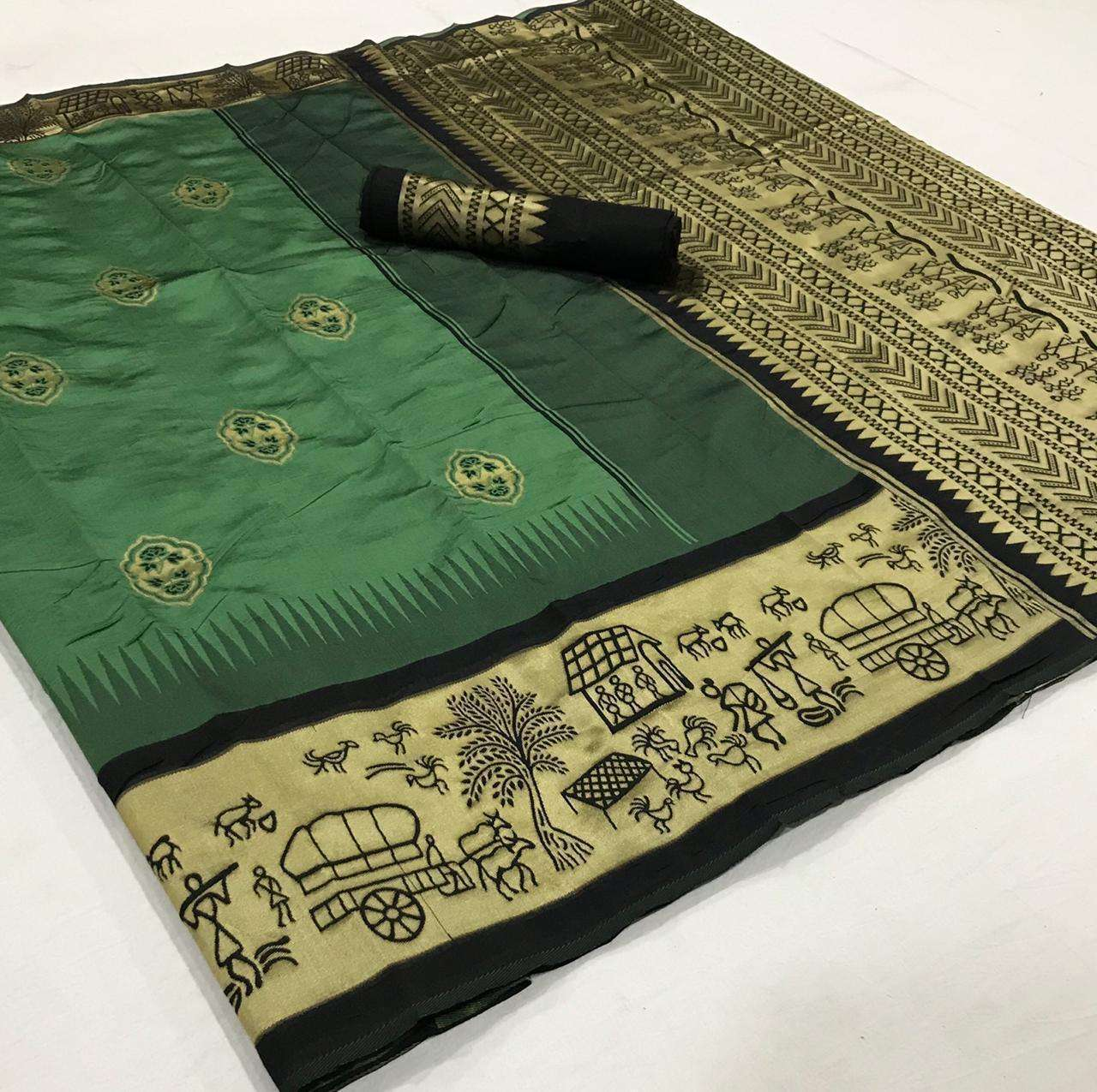 soft silk with Weaving Butta With Weaving Border saree collection 03