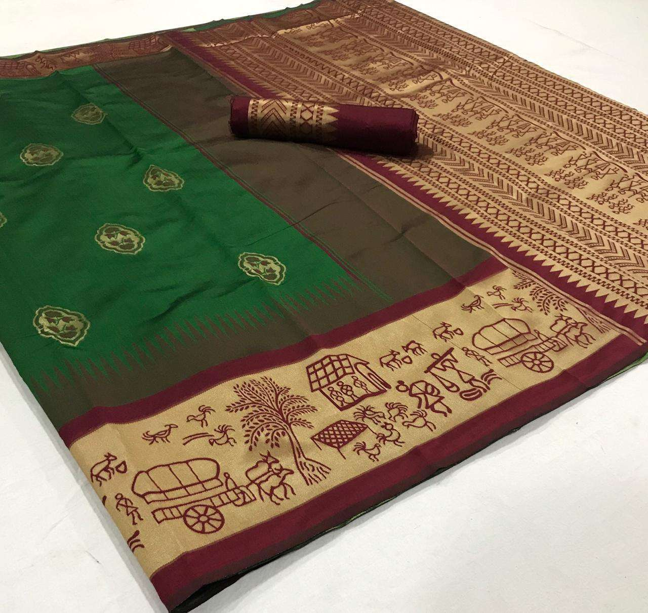 soft silk with Weaving Butta With Weaving Border saree collection  04